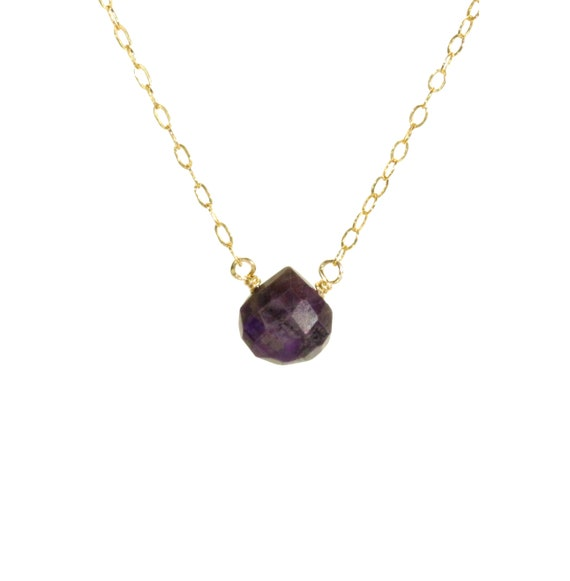Sugilite necklace, purple stone necklace, cyclosilicate necklace, a drop of purple sugilite wire wrapped onto a 14k gold filled chain