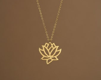Lotus necklace - gold lotus flower - yoga necklace - blooming flower - a little 22k gold lotus flower on a 14k gold vermeil chain