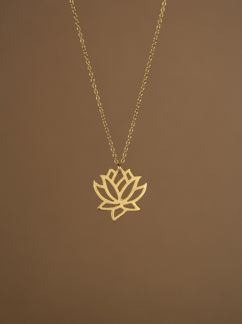 Lotus necklace  gold lotus flower yoga necklace blooming image 0