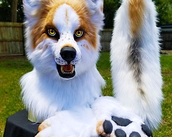 SOLD!!!   Realistic Fursuit Marble Fox Partial mask paws and tail