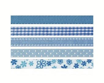 Decorative blue ribbons, 5x1.2M set matching 10mm wide