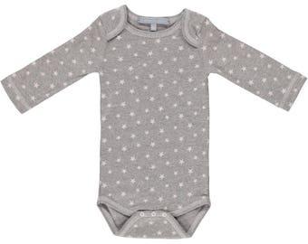 Bodysuit beige stars grey size 6 months