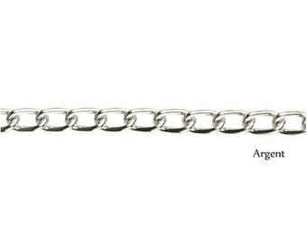 Chain silver plated small link 5mm wide sold by 50cm