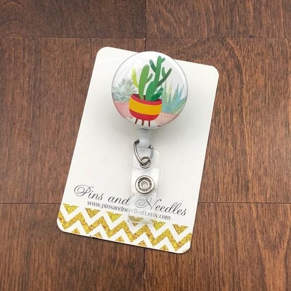 Botany ID Badge Reel - Retractable Badge Reel - Cute Id Badge Reels - Plant  Badge Holder - Designer ID Reel - Cactus ID Badge