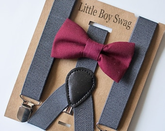 Cyber Monday Burgundy Bow Tie Charcoal Suspenders Set for Barn Weddings, Groomsmen, Ring Bearer Gift, Boy 1st Birthday Outfit