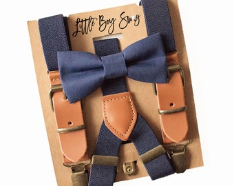 Rustic Boy Navy Bow Tie & Leather Suspenders for Wedding Outfits, Ring Bearer/Page Boy, Boy First Birthday, Rustic Cake Smash,Boys Gift