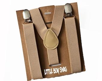 Khaki/Tan/Beige Toddler Boy Suspenders for Ring Bearer, Boys Wedding Outfit, First Birthday & Cake Smash Easter, Newborn/Baby Shower Gift