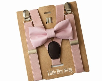 5c60aab49045 Dusty Rose/Blush Bow Tie Suspenders - Boys Valentines Day Outfit,1st  Birthday Outfit Boy,Big Brother Little Brother Outfit,Baby Shower Gift