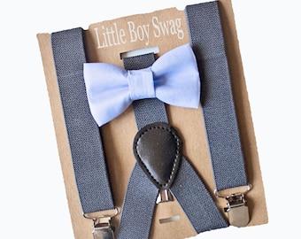 67bb83c61 Dusty Blue Bow Tie Dark Grey Suspenders, Groomsmen, Ring Bearer, Cake Smash  Outfit, Boys Birthday Outfit, Boys -Men Bow Tie sizes,