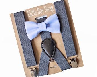 Dusty Blue Bow Tie Charcoal Gray Suspenders- Infant-Adult Sizes for Weddings, Ring Bearer Gift, Groomsmen,Boys 1st Birthday,Baby Shower Gift