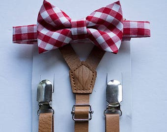 Boys Leather Suspenders Red Checkered Bow Tie, Boys Bow Tie and Suspenders, Toddler Bow Tie, Boys Cake Smash Outfit, First Birthday Boy, Boy