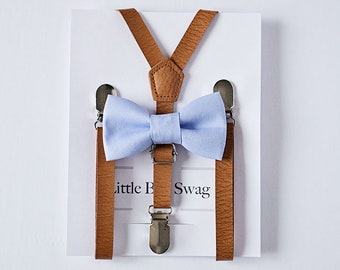 Dusty Blue Boys Bow Tie Tan Leather Suspenders, Boys First Birthday Outfit, First Birthday Boy, Boys Birthday Gift, Boys Cake Smash Outfit
