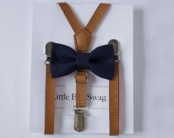 Ring Bearer Outfit, Boys Beige Leather Suspenders and Navy Bow Tie, Boys Suits, Boys Bow Tie, Boys Wedding Outfit, Boys Wedding Suspenders