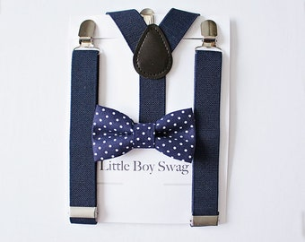 Navy Suspenders with Navy Bow Tie, Kids and Adult Bow Tie Suspenders, Ring Bearers Outfit, Boys Bow Tie, Wedding Bow Tie, First Birthday Boy