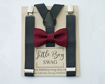 Ring Bearer Bow Tie and Suspenders, Bow Tie Charcoal Suspenders, Boys -Men Bow Tie Suspenders,Baby Boy Bow Tie, Wedding Bow Tie,Boys Clothes