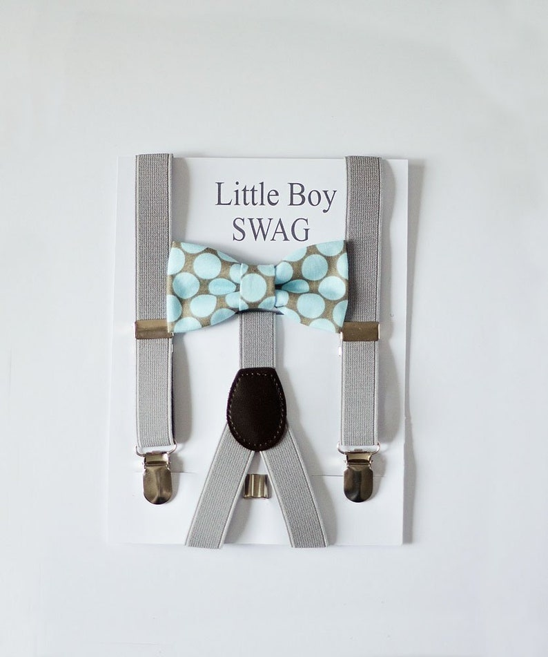 Mint Polka Dot Bow Tie with Gray Suspenders For Boys Mens Bow image 0