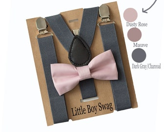 Dusty Rose/Blush Bow Tie & Dark Grey Suspenders, Groomsmen, Ring Bearer, Boys Gift, Cake Smash Outfit, First Birthday Outfit Boys