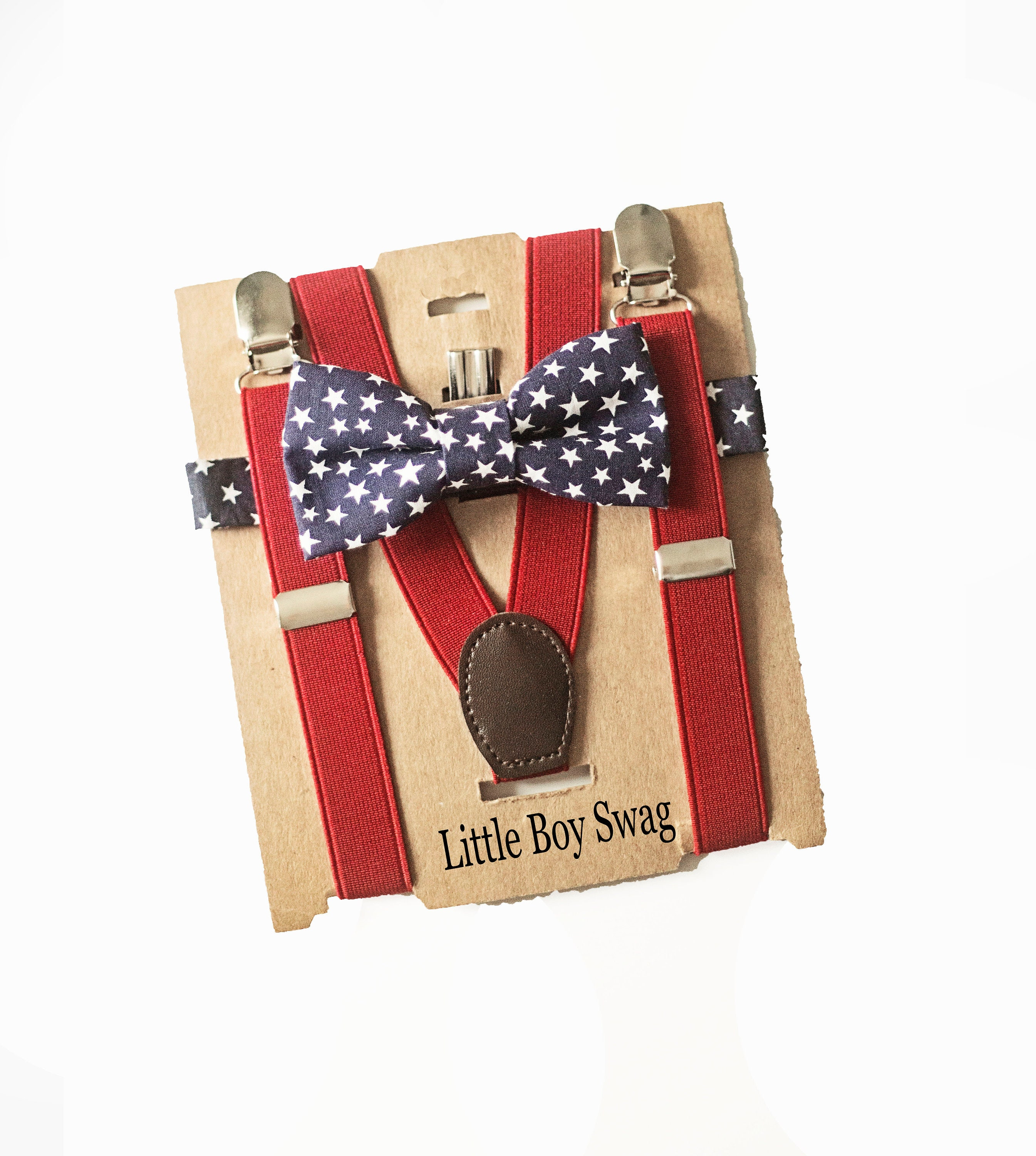 Red Plaid Bow Tie Brown Leather Suspenders for Ring Bearer Outfit Boy Valentines Day Bow Tie and Suspender for Valentines Outfit Gift