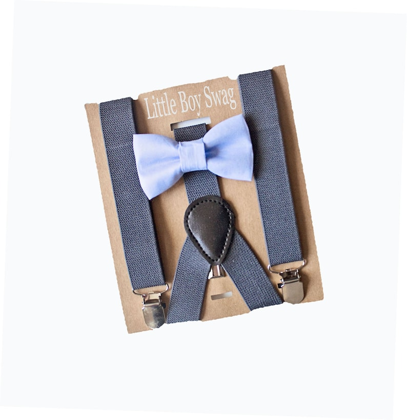 Dusty Blue Bow Tie Dark Grey Suspenders Groomsmen Ring image 0