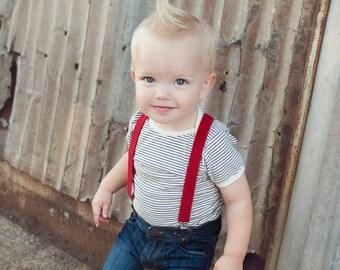 Boys Suspenders, First Birthday Boy, Cake Smash Outfit Boys, Red Baby Boy Suspenders, 1st Birthday Boy, Kids Suspenders, Red Suspenders, Boy
