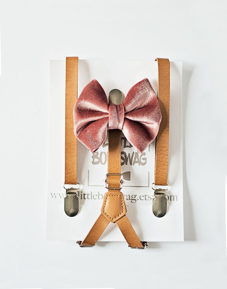Blush Bow Tie Cognac Skinny Leather Suspenders for Ring Bearer, Rustic  Wedding, Groomsmen Bow Tie, Boy First Birthday, Cake Smash Outfit