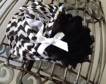 black hair flower, chevron black and white hair clip, girls hair clip,  flower hair clip, hair flower hair accessory