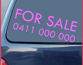 """FOR SALE decal. 580mm x 200mm.  """"For Sale"""" + Phone number."""