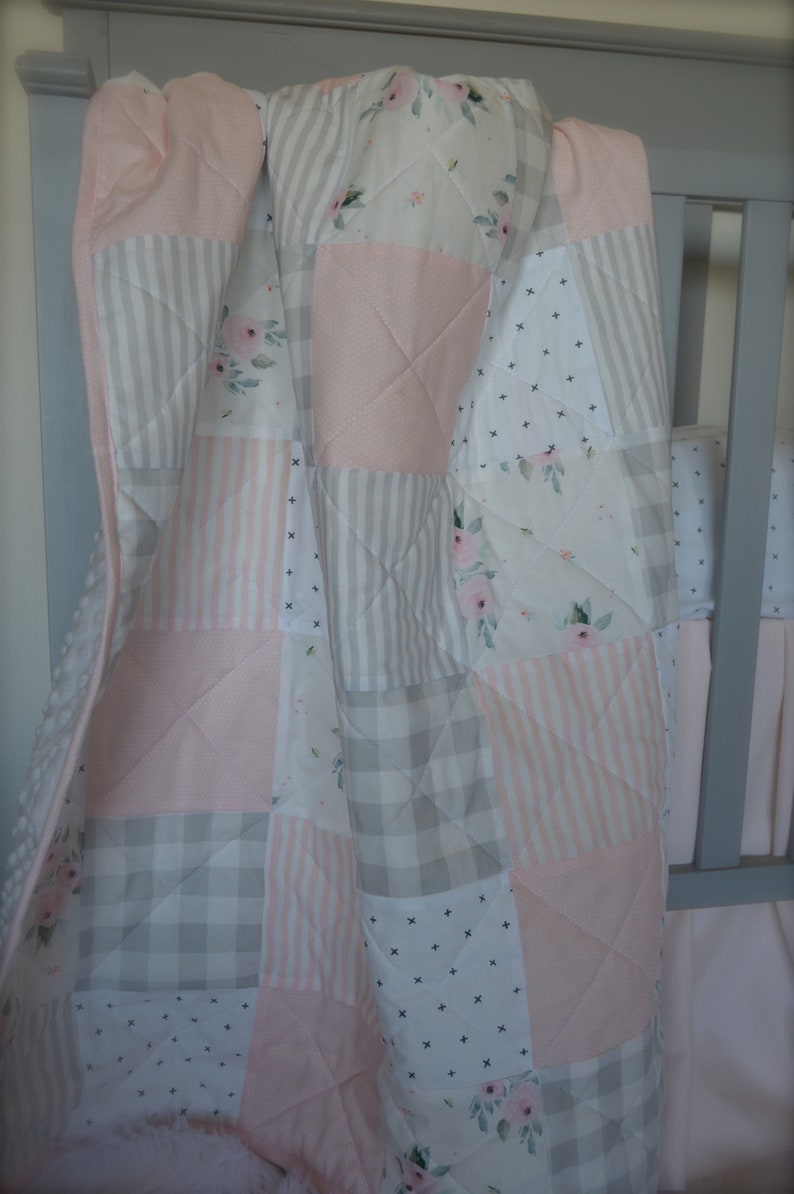 e4e9c70143c0 Girl crib quilt Blush pink and Gray Baby or toddler quilt
