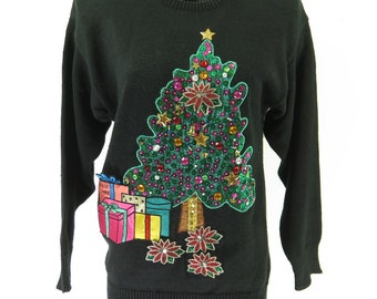 e004a119449 Vintage 80s Ugly Christmas Sweater Unisex S Black Big Tree Jingle Bells  Sequin  I18Q 1-4