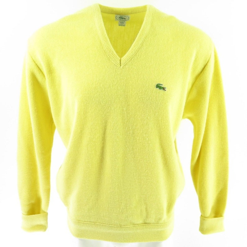 3e3b3bfe4fdd7 Vintage 80s Izod Lacoste Sweater Mens Large USA Made Yellow V Neck  Alligator [I03G_1-2_Shelf]