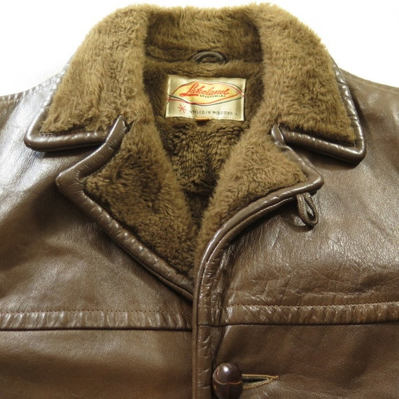 H78X Coat liner Lakeland Knot Vintage Mens fleece Medium Buttons 6 38 4 or 60s Leather W7ZyZPA