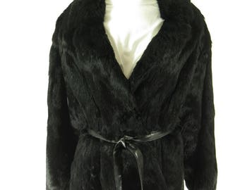 Vintage 90s Real Black Noir Fur Coat Womens XL Soft Rabbit Belted [H30R_3-3]