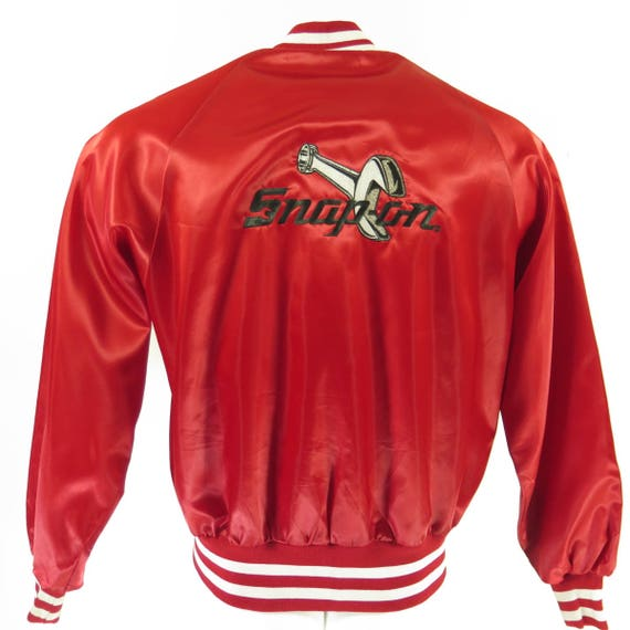 Red Snap 80s 0 Vintage Shiny I10D Embroidered Mens Satin Puffy On Deadstock L Jacket 14 UZ8R8