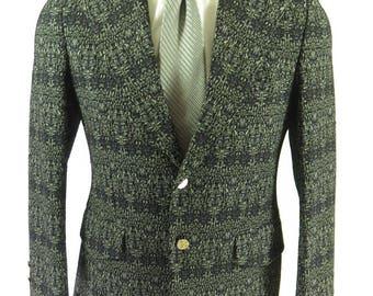 Vintage 70s Wide Lapel Sport Coat Jacket Mens 40 Double Knit Crest Buttons [H70D_2-1]