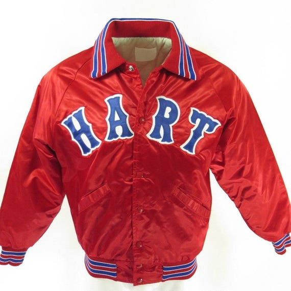1 80s Vintage Satin M H50F Baseball Mens DeLong Hart 2 Red Patch Liner Quilted Jacket OZwrZqnfd