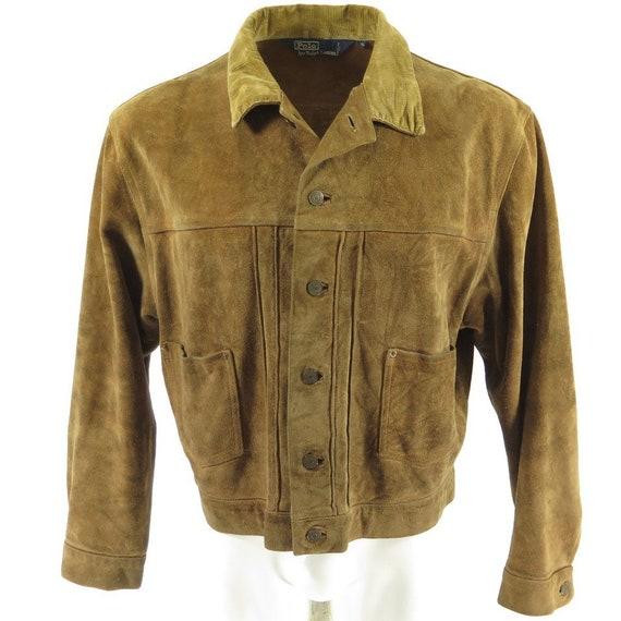 Vintage 90s Polo Ralph Lauren Mens Jacket XL Suede Brown Retro Style