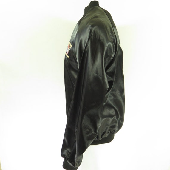 Pontiac I13A Puffy Jacket Oakland 80s Embroidered Black 15 Club Car Satin 0 L Mens Vintage yHA5cgc