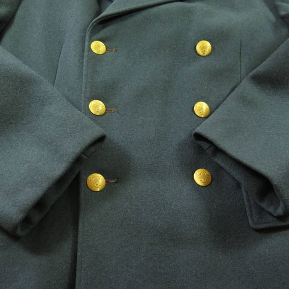 Embossed Long Overcoat Wool 40 H34I Vintage Swedish Mens 4 Military 3 50s Coat Buttons YtwOt8