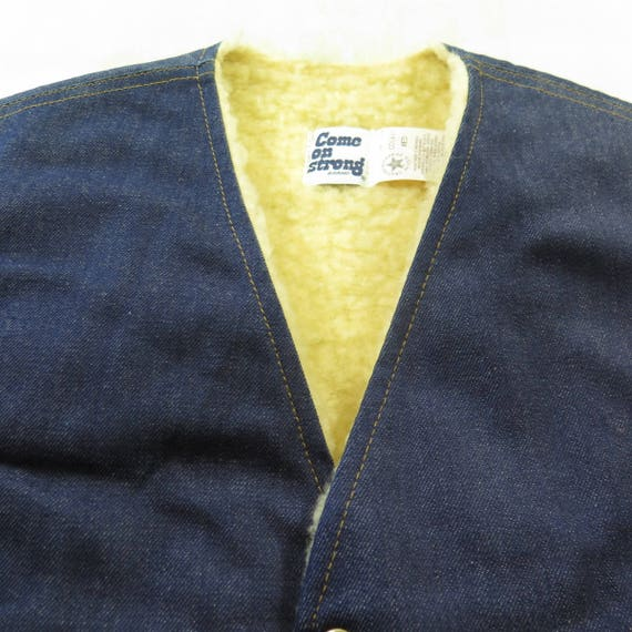 Denim Mens USA Fleece Strong 60s On 1 Liner M Blue 9 Come Vest Vintage Deadstock H75Z qRwIYq