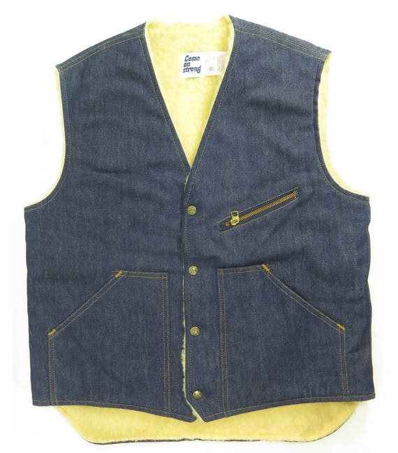 60s Liner On Come Denim Vest Fleece 9 Blue H75Z M 1 Vintage Strong Mens USA Deadstock HqdwAHC
