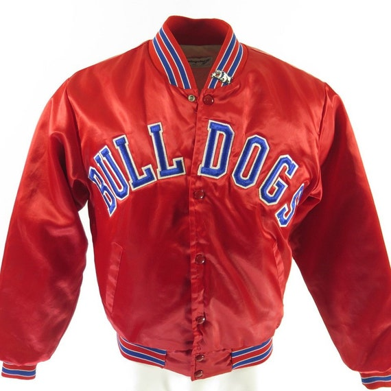 2 Jacket Red Bulldogs Satin Vintage Union Medium 1 Puffy Patches H93D Made 70s qSUtngxv