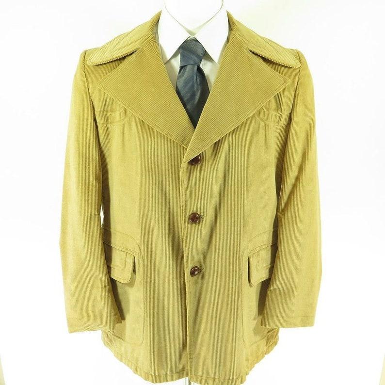20cafc49371 Vintage 70s Wide Collar Corduroy Jacket 44 Long Beige Sport
