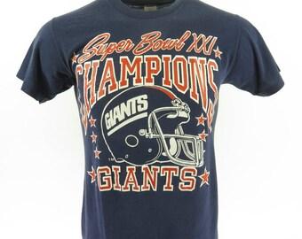 Vintage 80s New York Giants T-Shirt M NFL Football Super Bowl Champs Logo 7 [H66S_0-6]