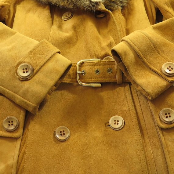 Fur Suede 2 Womens Belted Jacket 15 12 Leather 70s Big Leather Collar I16T Vintage Pockets Zgpxx