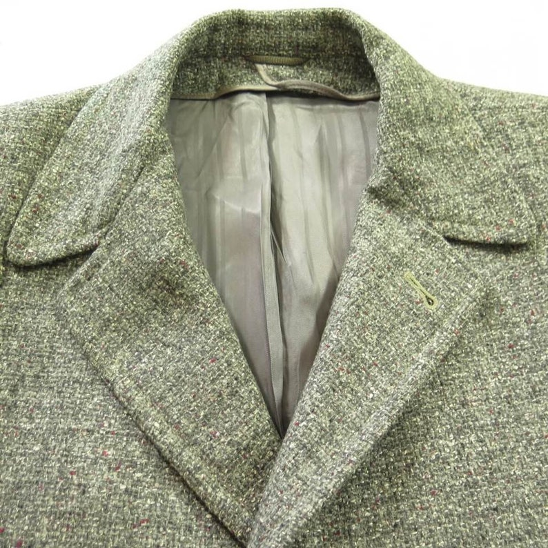 H55W/_3-4/_Long Vintage 50s Wool Nubby Fleck Overcoat Coat 44 Large Gray Wool Mid Weight