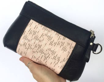 Brooke 6+ Purse: Black bovine leather with pale pink geometric inset feature