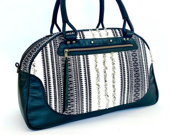 Quenby Overnight Bowler Bag: Black Leather and Boho woven weave fabric