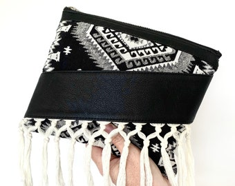 Fallon Tassel Clutch - Black mexican weave with Black leather trim