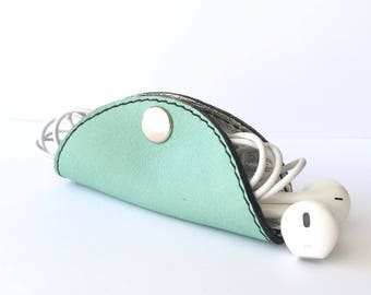 Cordelia Cord Wrap:  Two tone leather in mint and metallic silver foil