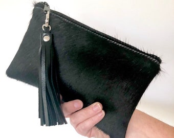 Marlow Hair-on Leather Pouch:  Black